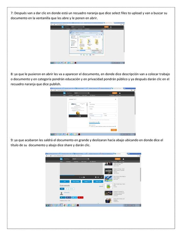 7: Después van a dar clic en donde está un recuadro naranja que dice select files to upload y van a buscar su documento en...