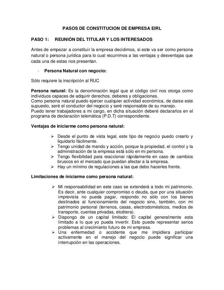 PASOS DE CONSTITUCION DE EMPRESA EIRLPASO 1:     REUNIÓN DEL TITULAR Y LOS INTERESADOSAntes de empezar a constituir la emp...