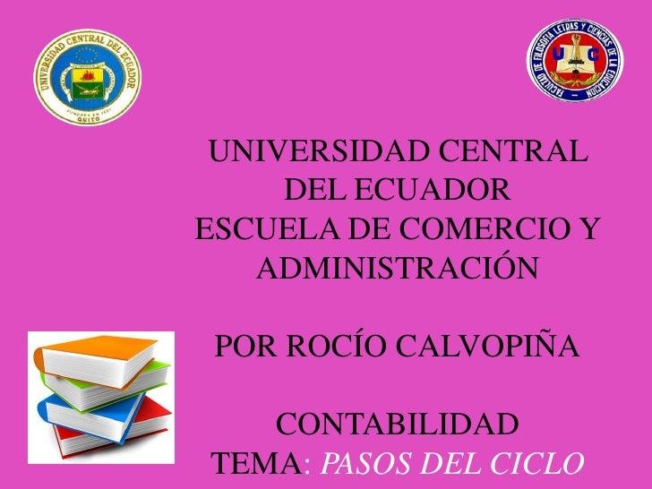 UNIVERSIDAD CENTRAL     DEL ECUADORESCUELA DE COMERCIO Y   ADMINISTRACIÓN POR ROCÍO CALVOPIÑA   CONTABILIDADTEMA: PASOS DE...