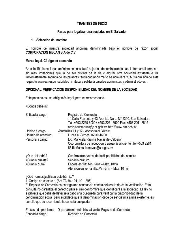 Pasos De Legalizacion De Empresa En El Salvador