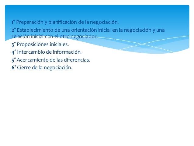 1° Preparación y planificación de la negociación.2° Establecimiento de una orientación inicial en la negociación y unarela...