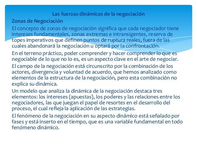 Las fuerzas dinámicas de la negociaciónZonas de NegociaciónEl concepto de zonas de negociación significa que cada negociad...