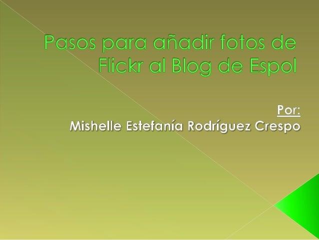 """1.- Nos colocamos en la página de plugings, luego buscamos elplugings """"Flickr Manager"""".Por: Mishelle Estefanía Rodríguez C..."""
