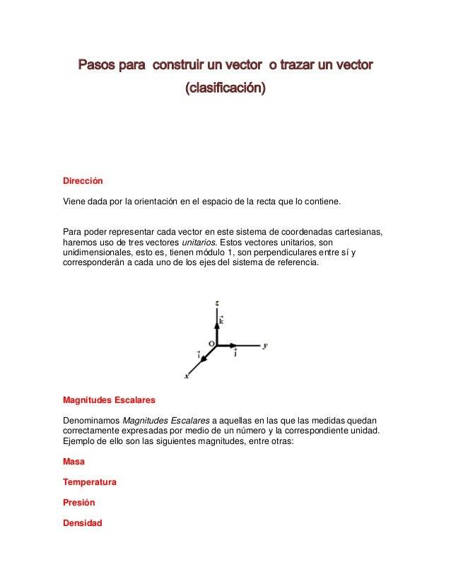Pasos para construir un vector o trazar un vector                               (clasificación)DirecciónViene dada por la ...