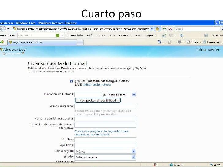 Pasos para crear una cuenta de hotmail for Cuarto y quinto paso