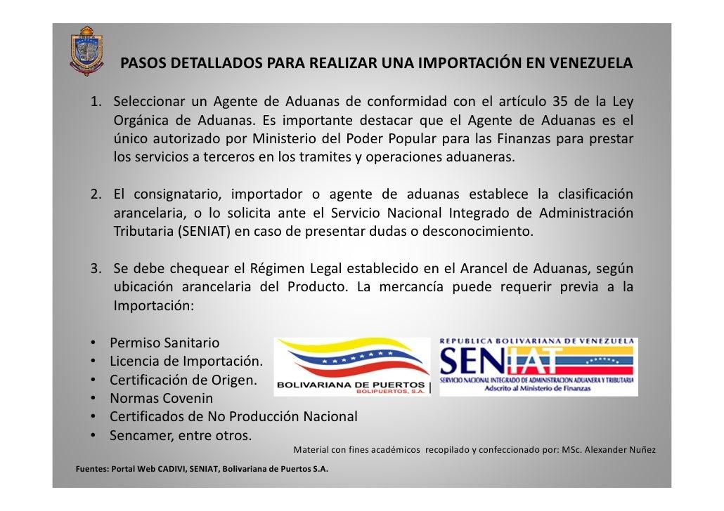 PASOS DETALLADOS PARA REALIZAR UNA IMPORTACIÓN EN VENEZUELA   1. Seleccionar un Agente de Aduanas de conformidad con el ar...