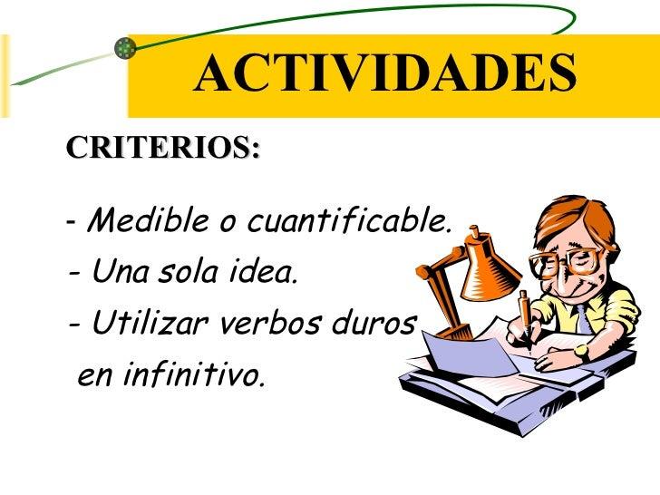 ACTIVIDADESCRITERIOS:- Medible o cuantificable.- Una sola idea.- Utilizar verbos durosen infinitivo.