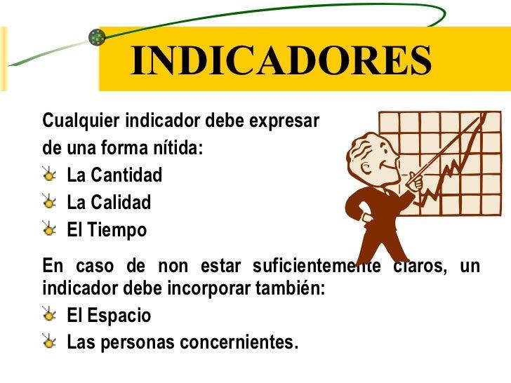 INDICADORES <ul><li>Cualquier indicador debe expresar  </li></ul><ul><li>de una forma nítida: </li></ul><ul><li>La Cantida...