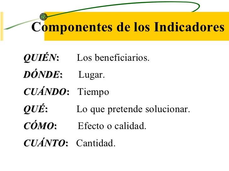 Componentes de los Indicadores QUIÉN :     Los beneficiarios. DÓNDE :   Lugar. CUÁNDO :   Tiempo QUÉ :   Lo que pretende s...