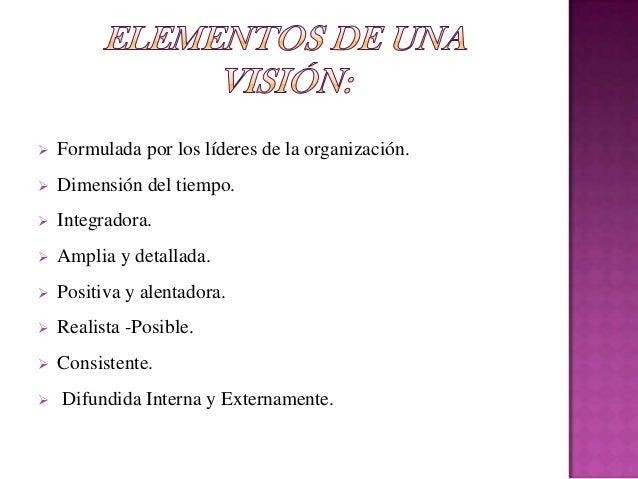 Los pasos de la visión deberá responder a lassiguientes tres preguntas:1. ¿Qué es lo que quiere la organización?2. ¿Cómo d...