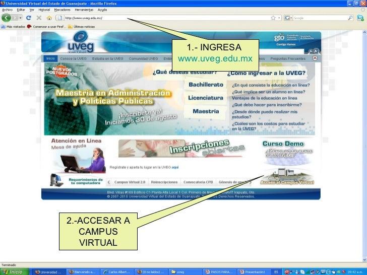 1.- INGRESA  www.uveg.edu.mx 2.-ACCESAR A CAMPUS VIRTUAL