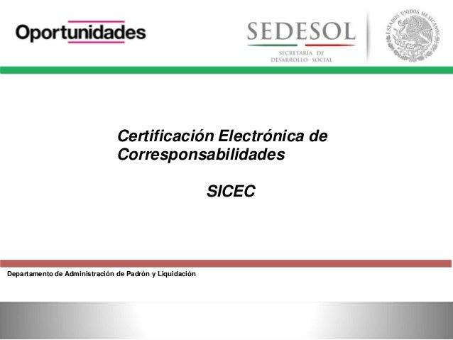 Departamento de Administración de Padrón y Liquidación Certificación Electrónica de Corresponsabilidades SICEC