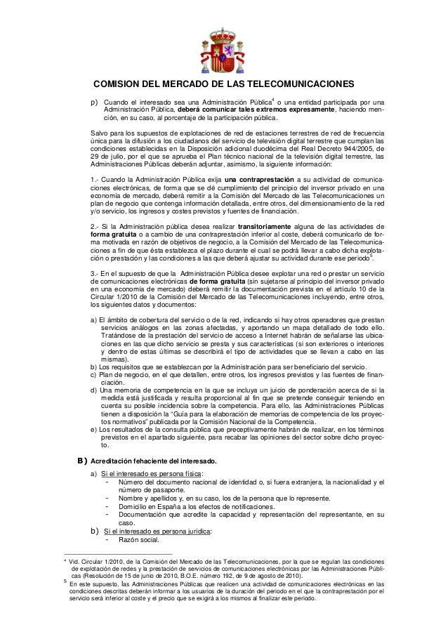 COMISION DEL MERCADO DE LAS TELECOMUNICACIONES                                                                            ...