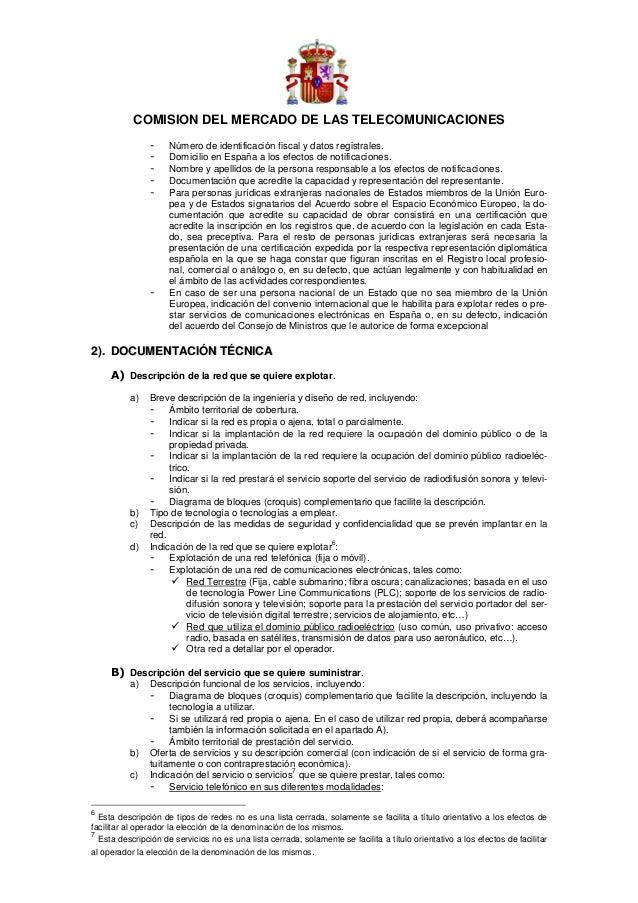 COMISION DEL MERCADO DE LAS TELECOMUNICACIONES                -    Número de identificación fiscal y datos registrales.   ...