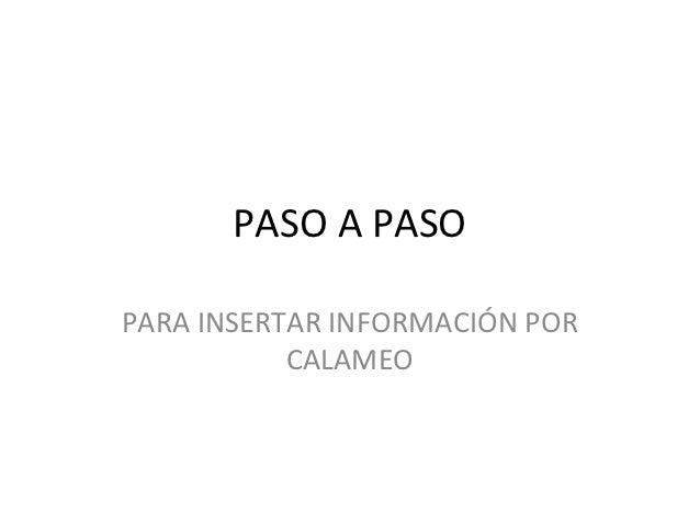 PASO A PASOPARA INSERTAR INFORMACIÓN POR           CALAMEO