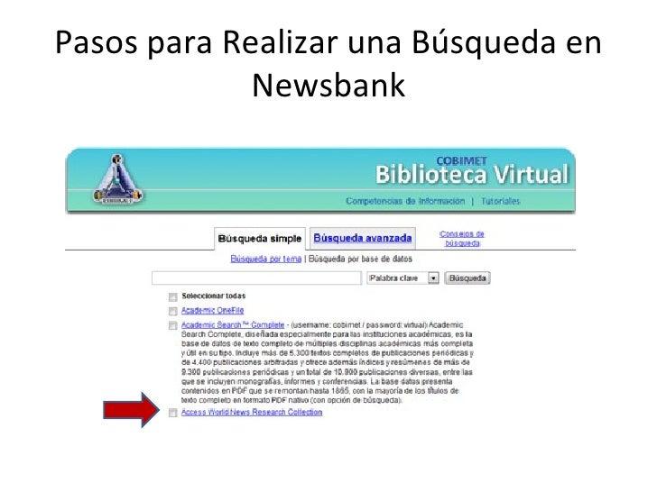 Pasos para Realizar una Búsqueda en             Newsbank