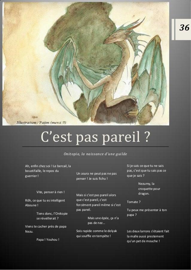 C'est pas pareil ? C'est pas pareil ? Onitopia, la naissance d'une guilde 36 Illustration : Pajim (merci !!!) Ah, enfin ch...