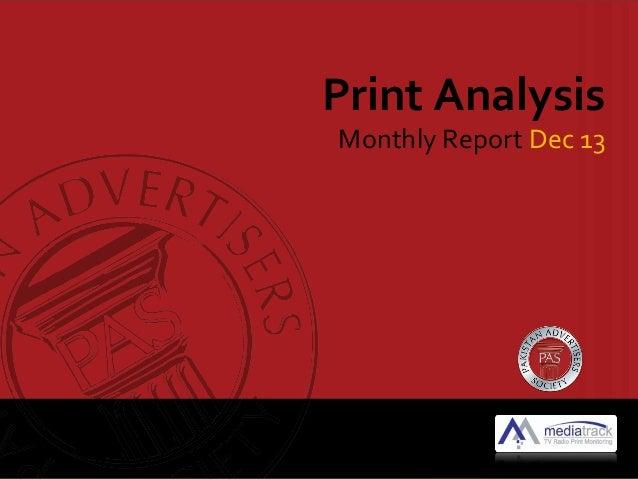 Print Analysis  Monthly Report Dec 13