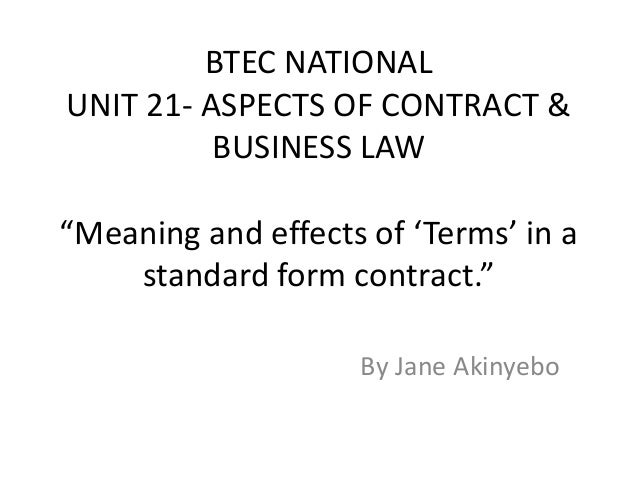 Unit 21 aspects of contract and