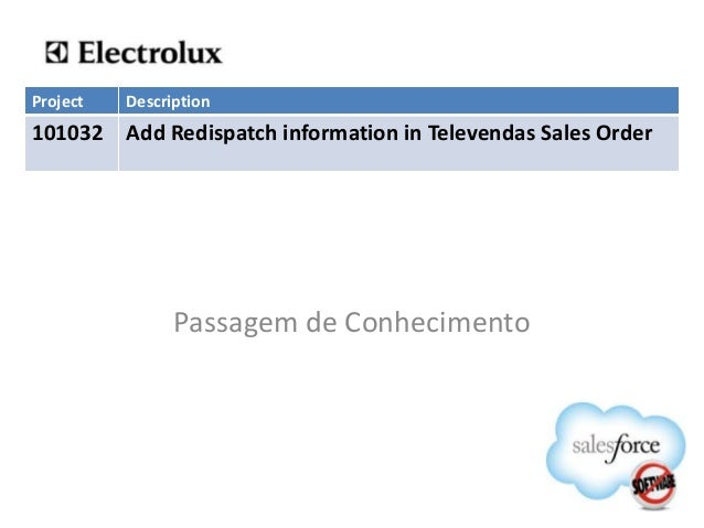Project   Description101032 Add Redispatch information in Televendas Sales Order                Passagem de Conhecimento