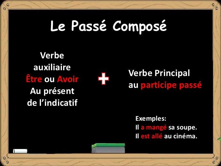 Le Passé Composé    Verbe  auxiliaire                 Verbe PrincipalÊtre ou Avoir                 au participe passé Au p...