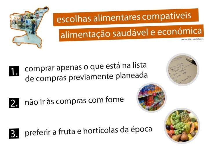 escolhas alimentares compatíveis e alimentação saudável e económica