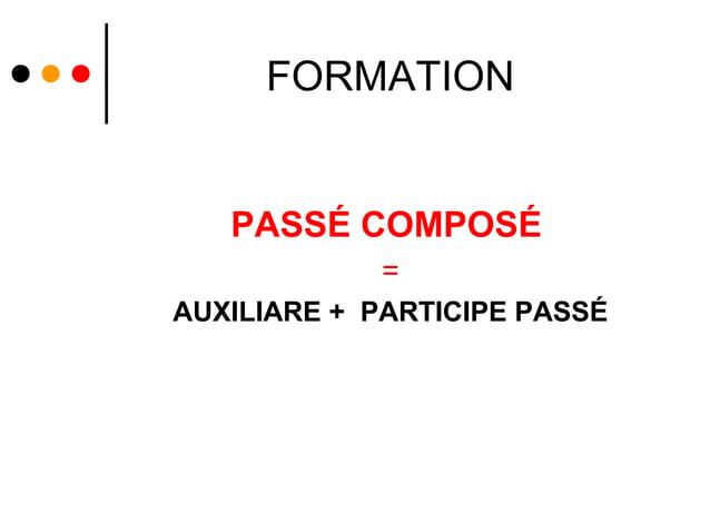 FORMATION   PASSÉ COMPOSÉ            =AUXILIARE + PARTICIPE PASSÉ