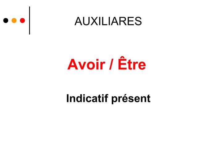 AUXILIARESAvoir / ÊtreIndicatif présent