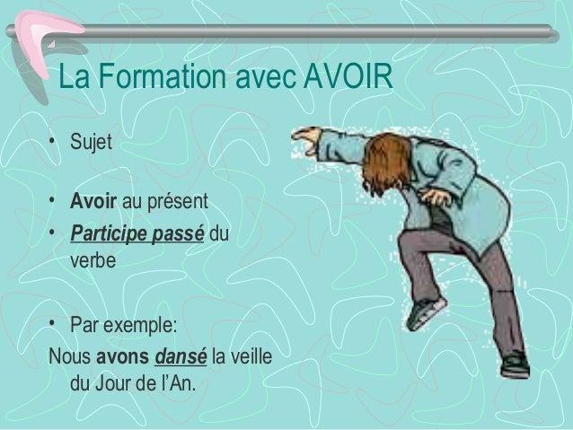 La Formation avec AVOIR • Sujet • Avoir au présent • Participe passé du verbe • Par exemple: Nous avons dansé la veille du...
