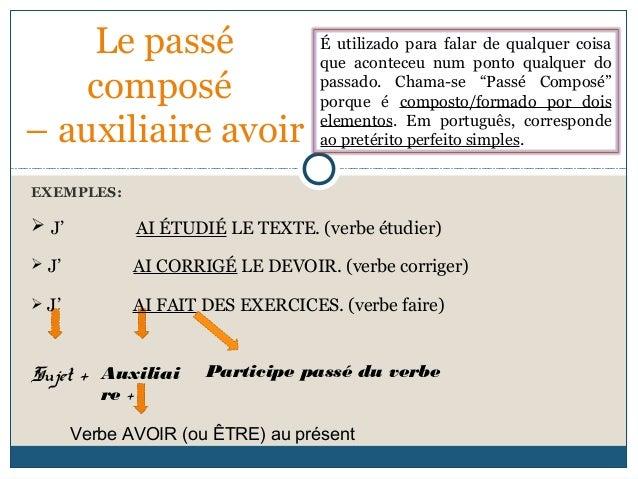 EXEMPLES: Le passé composé – auxiliaire avoir É utilizado para falar de qualquer coisa que aconteceu num ponto qualquer do...