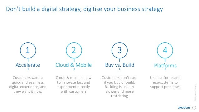 8 ©2016AmadeusITGroupSA Don't build a digital strategy, digitise your business strategy 1 Accelerate Customers want a quic...