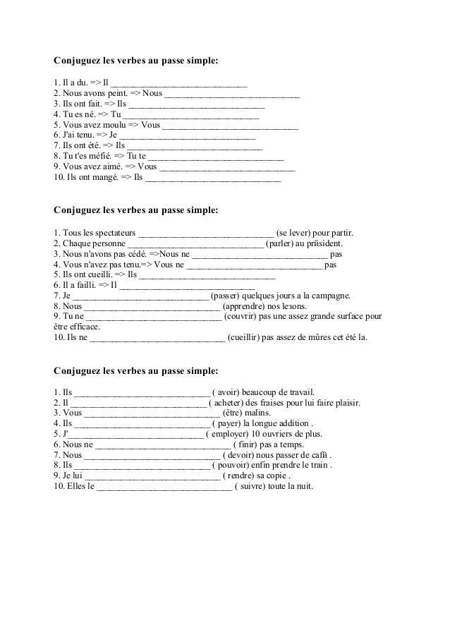 Grelotter Conjugaison Passe Simple