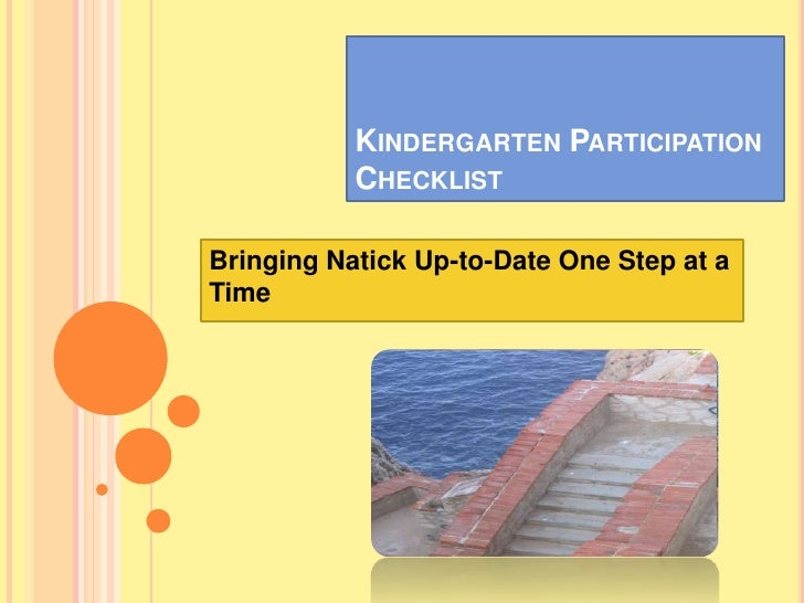 KINDERGARTEN PARTICIPATION           CHECKLISTBringing Natick Up-to-Date One Step at aTime