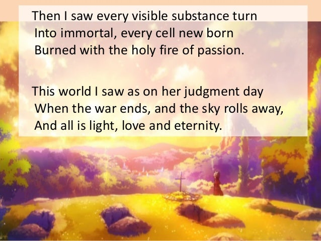 Overall impression • 'Passion' is in keeping with Kathleen Raine's philosophical leanings. • She was a mystic poet who bel...