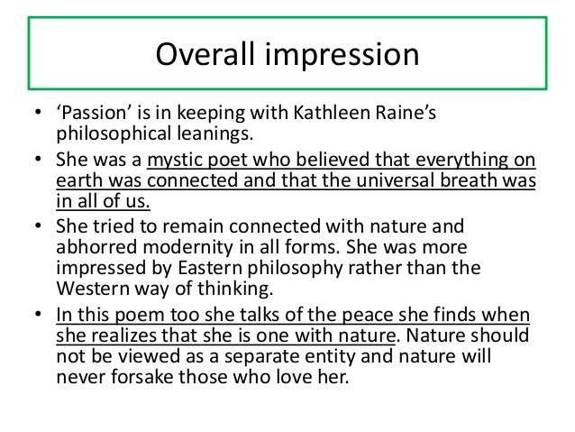 Essay question • Examine the ways in which the poet depicts her search for meaning after despair in the poem Passion. OR: ...