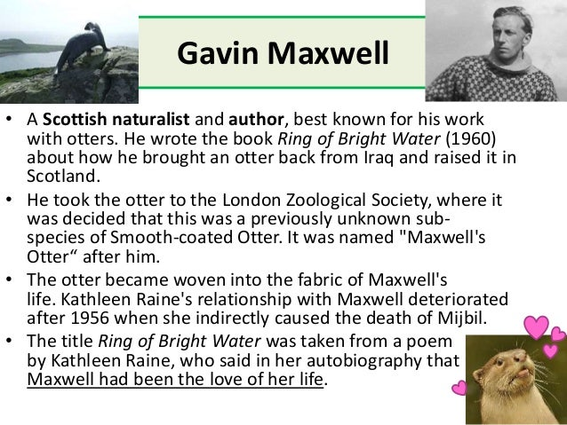 Gavin Maxwell • A Scottish naturalist and author, best known for his work with otters. He wrote the book Ring of Bright Wa...
