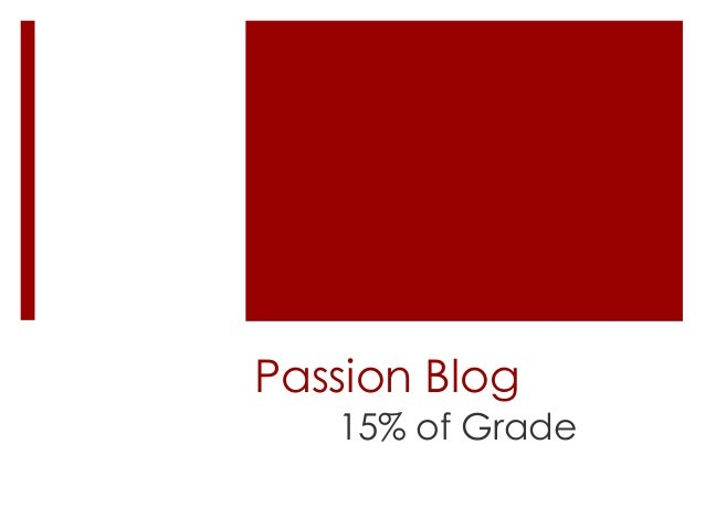 Passion Blog 15% of Grade