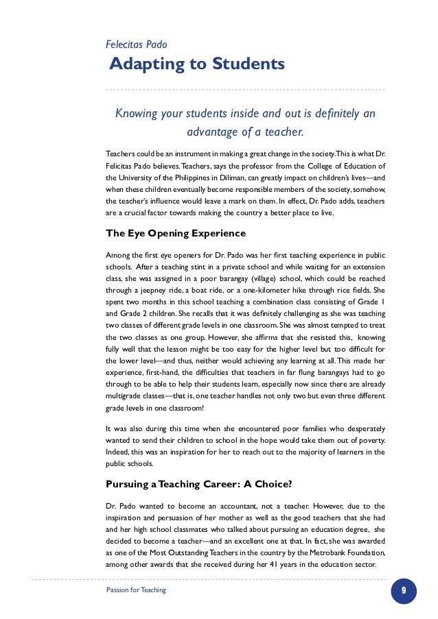 teacher occupation essay