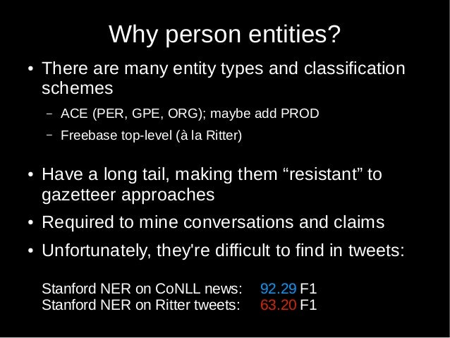 Passive-Aggressive Sequence Labeling with Discriminative Post-Editing for Recognising Person Entities in Tweets Slide 3