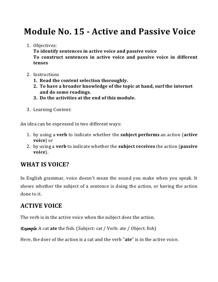 Module No. 15 - Active and Passive Voice<br />Objectives: <br />To identify sentences in active voice and passive voice<br...
