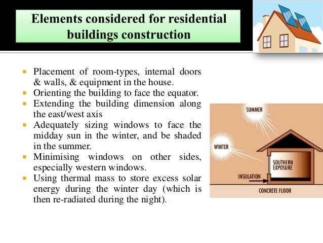 Placement of room-types, internal doors & walls, & equipment in the house.  Orienting the building to face the equator....