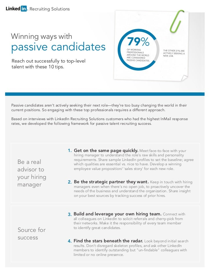 Recruiting SolutionsWinning ways withpassive candidatesReach out successfully to top-leveltalent with these 10 tips.Passiv...