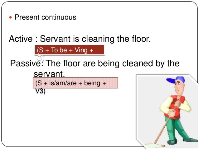  Present continuous  Active : Servant is cleaning the floor. (S + To be + Ving + O)  Passive: The floor are being cleaned...