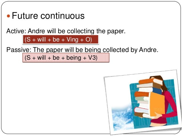  Future continuous Active: Andre will be collecting the paper. (S + will + be + Ving + O)  Passive: The paper will be bei...