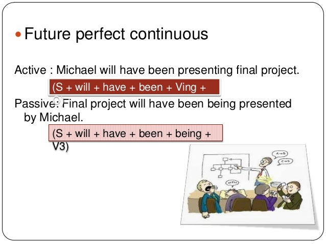  Future perfect continuous Active : Michael will have been presenting final project. (S + will + have + been + Ving + O) ...