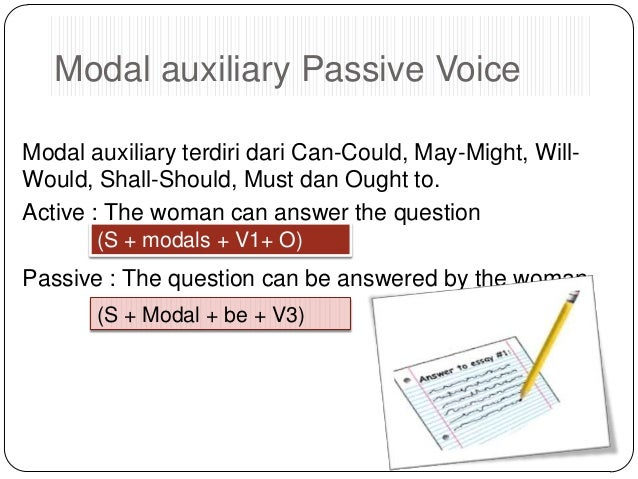 Modal auxiliary Passive Voice Modal auxiliary terdiri dari Can-Could, May-Might, WillWould, Shall-Should, Must dan Ought t...
