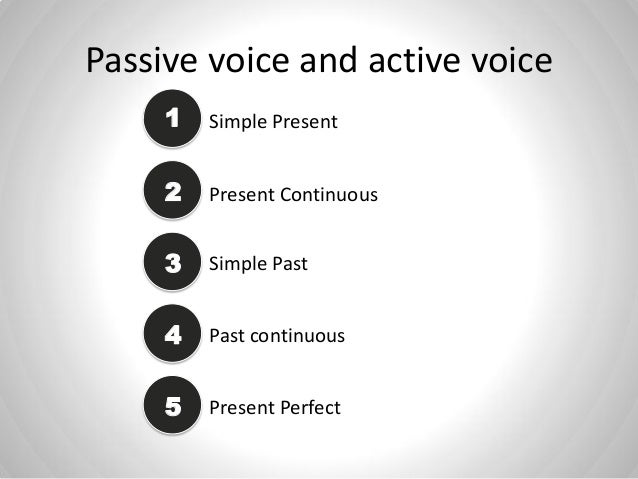 Passive voice and active voice Simple Present1 2 Present Continuous 3 Simple Past 44 Past continuous 45 Present Perfect