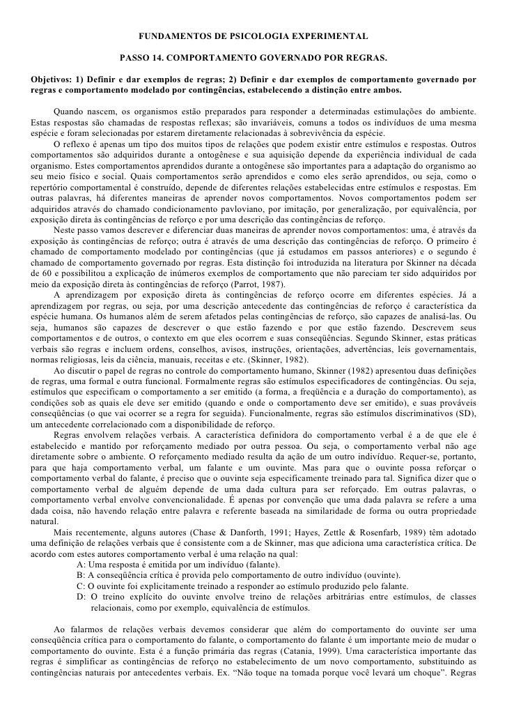 FUNDAMENTOS DE PSICOLOGIA EXPERIMENTAL                         PASSO 14. COMPORTAMENTO GOVERNADO POR REGRAS.  Objetivos: 1...