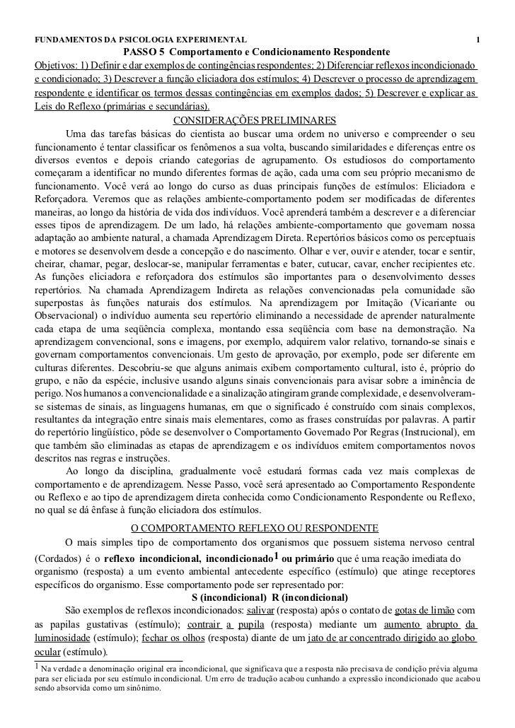 FUNDAMENTOS DA PSICOLOGIA EXPERIMENTAL                                                                                    ...