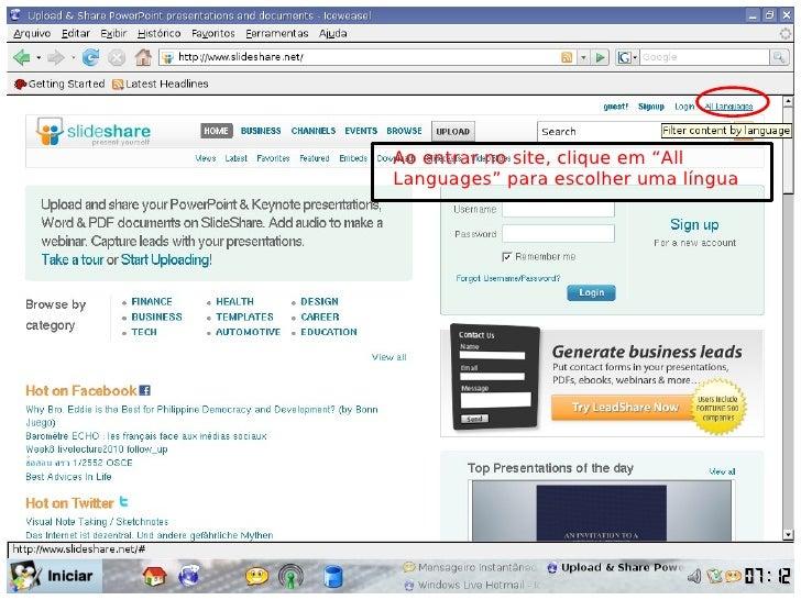 """Ao entrar no site, clique em """"All Languages"""" para escolher uma língua"""